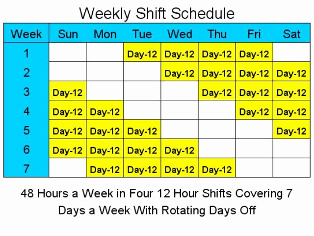 8 Hour Shift Schedule Template New 12 Hour Schedules for 7 Days A Week 1 4 Download