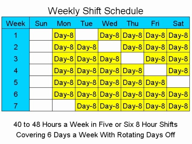 8 Hour Shift Schedule Template Unique 8 Hour Shift Schedules for 6 Days A Week