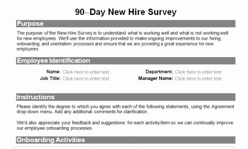 90 Day Employee Review Template Fresh Human Resource forms for the Entire Employee Lifecycle