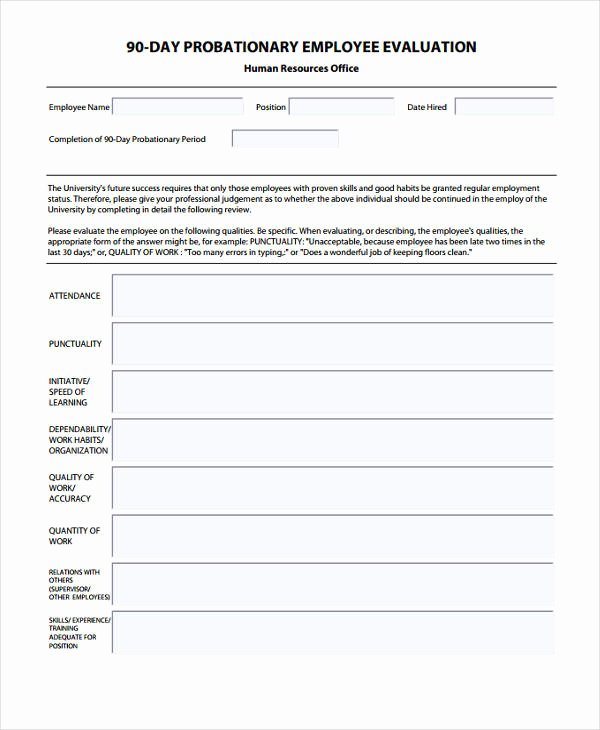 90 Day Employee Review Template Inspirational 29 Sample Employee Evaluation forms