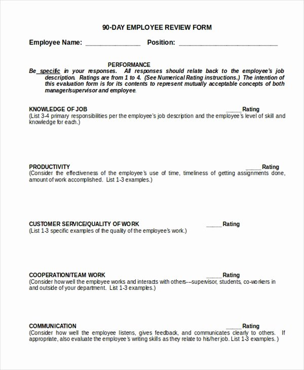 90 Day Performance Review Template Awesome Sample Employee Review form 10 Free Documents In Doc Pdf