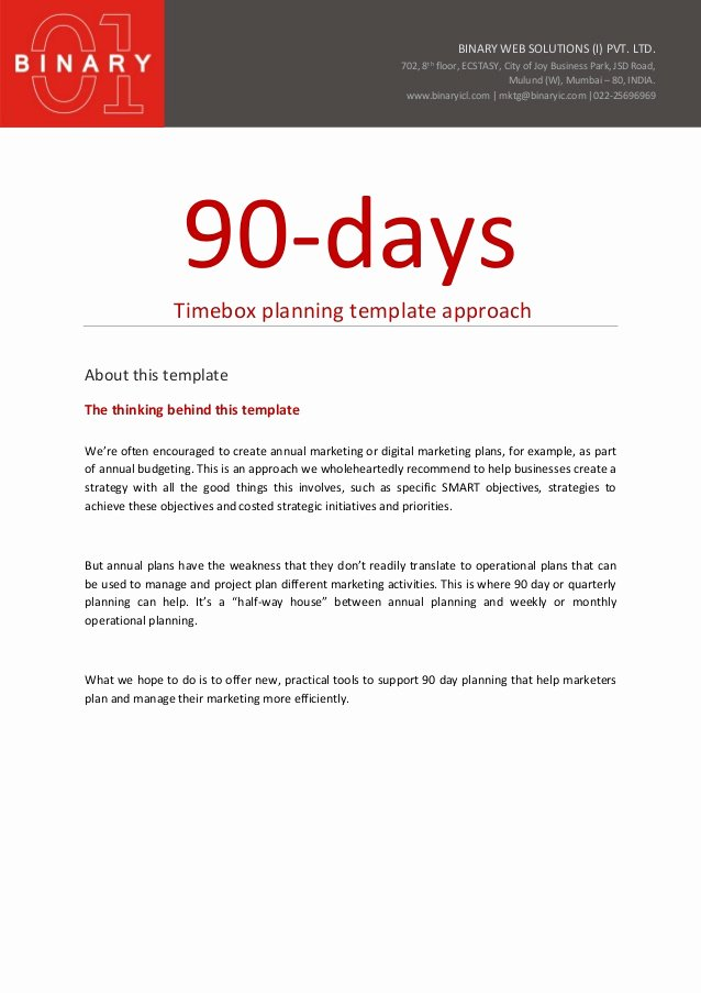 90 Day Performance Review Template Beautiful 90 Day Planning Template Approach