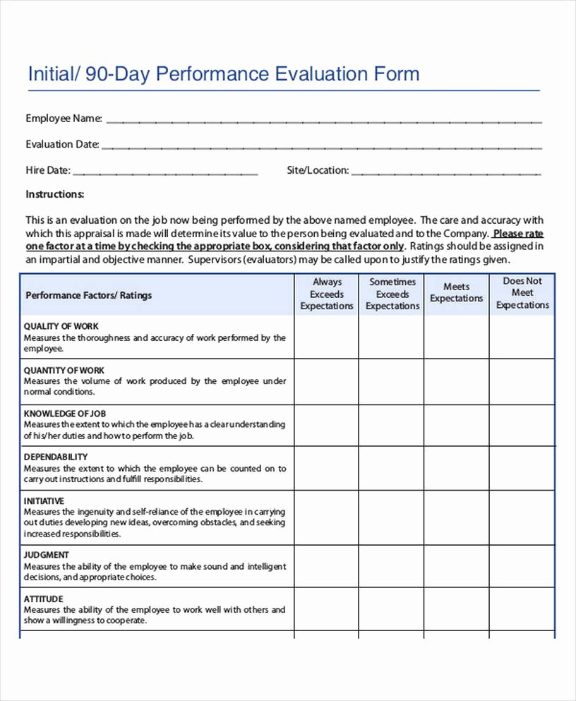 90 Day Performance Review Template Beautiful Employee Review Template