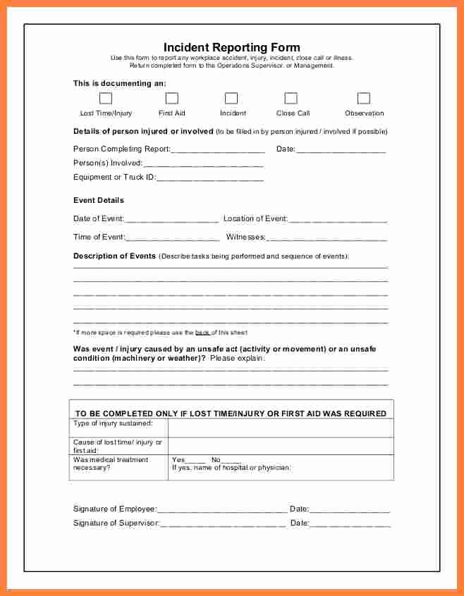 Accident Incident Reporting form Template Beautiful 9 Incident and Accident Report form Template