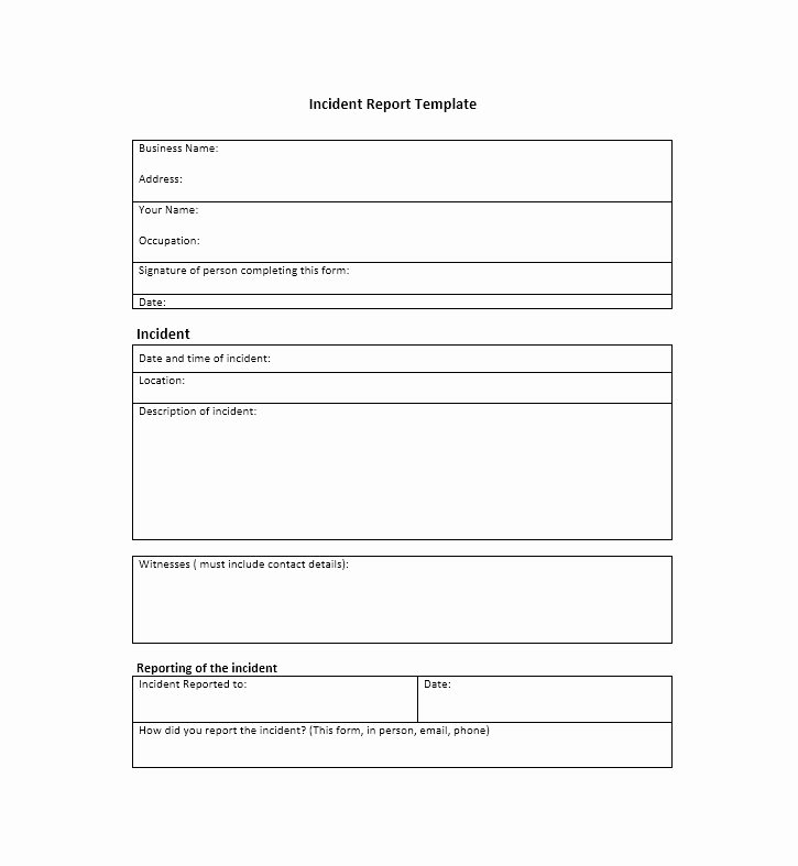 Accident Incident Reporting form Template Best Of 60 Incident Report Template [employee Police Generic]