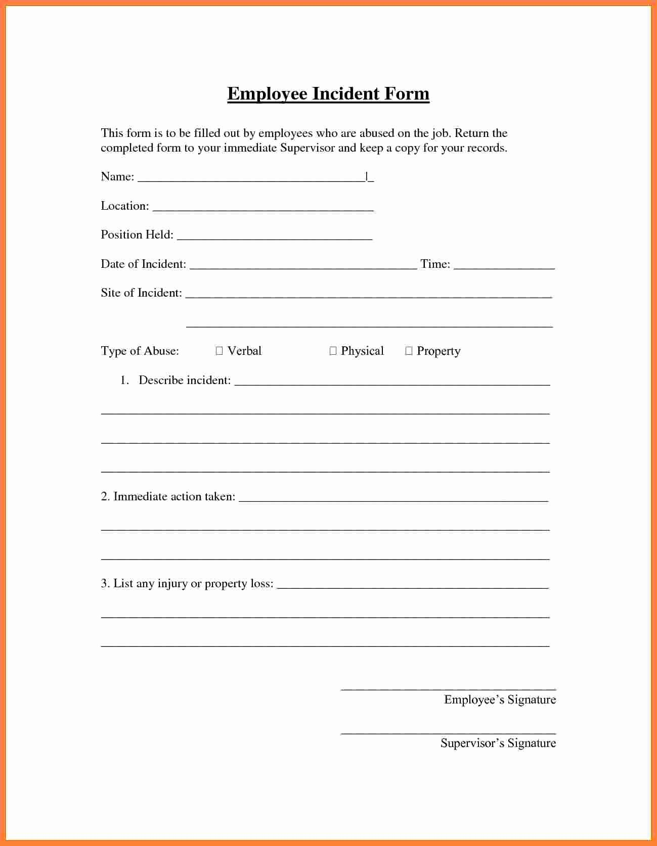 Accident Incident Reporting form Template Elegant Employee Injury Report