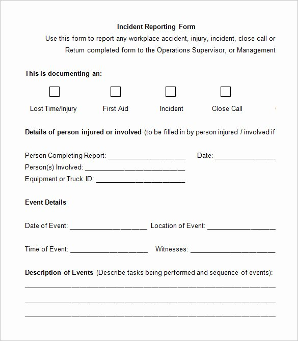 Accident Incident Reporting form Template Fresh 12 Employee Incident Report Templates Pdf Doc