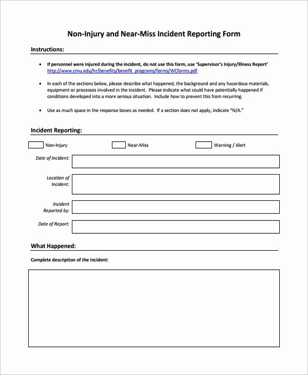 Accident Incident Reporting form Template Unique Sample Incident Reporting form 9 Free Documents
