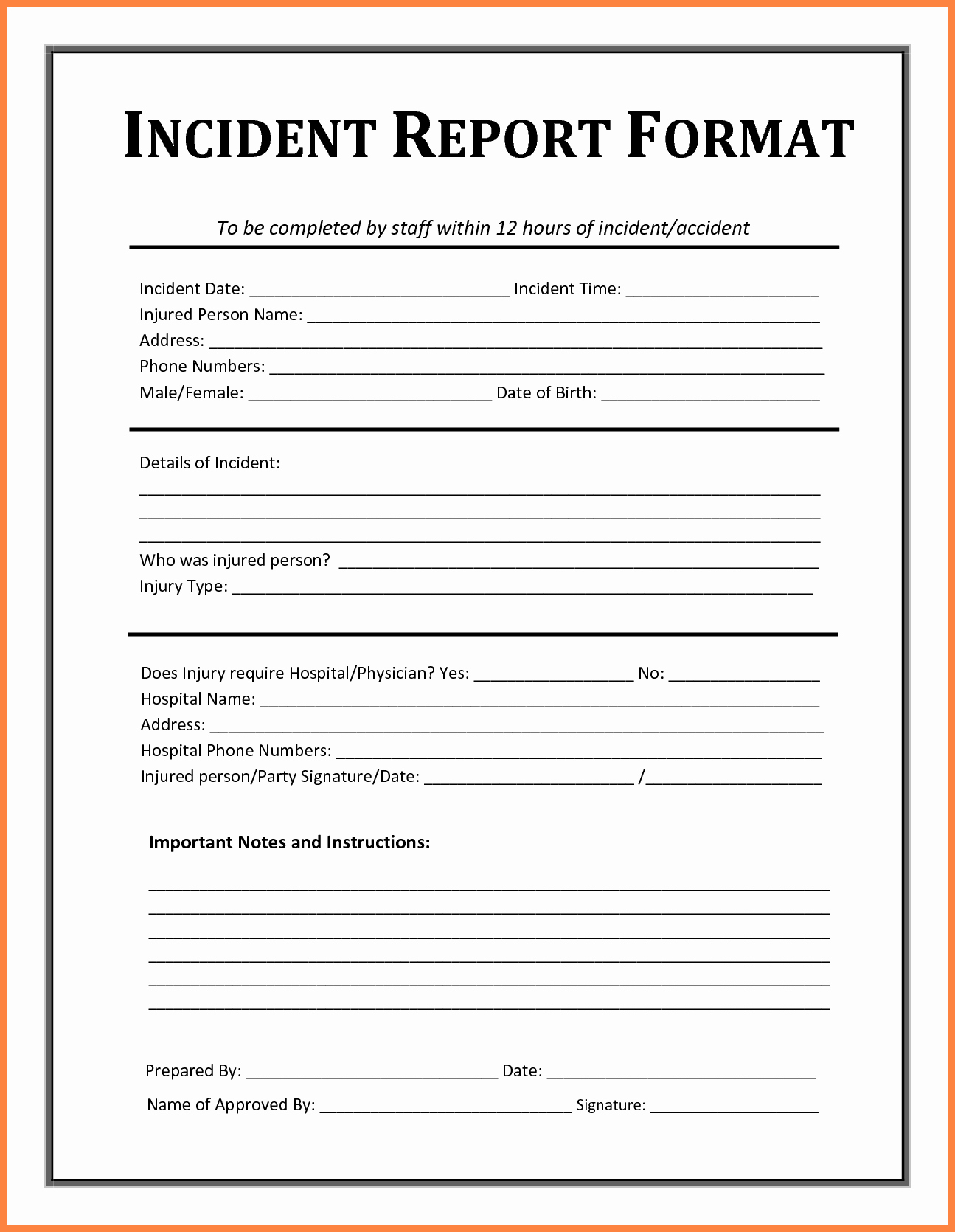 Accident Report forms Template Awesome 4 Accident Incident Report form Template