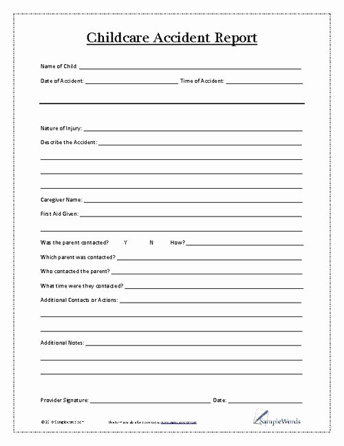 Accident Report forms Template Fresh Child Accident Report form