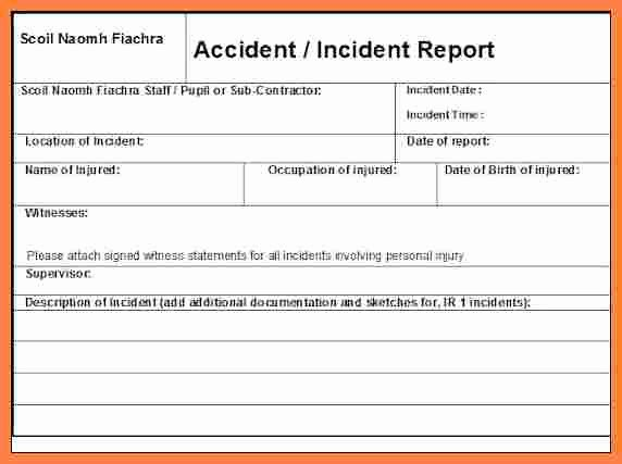 Accident Reporting form Template Fresh 3 Workplace Incident Report form Template