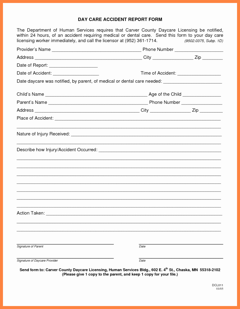 Accident Reporting form Template Lovely 9 Patient Report form Template