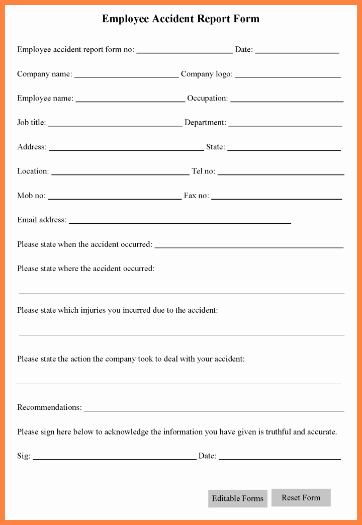 Accident Reporting form Template Luxury 5 Workplace Accident Report form Template