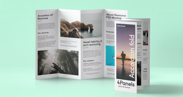 Accordion Fold Brochure Template Luxury Psd Accordion Fold Mockup Us A4
