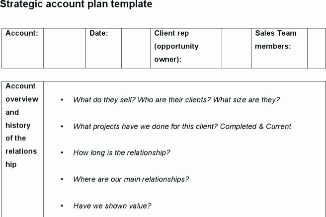Account Management Plan Template Lovely Account Plan Template Sample New Key Management Free