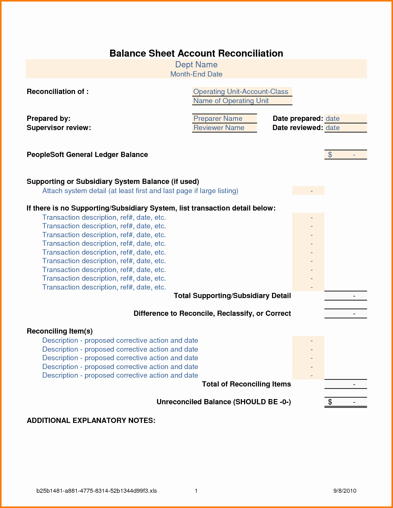 Account Reconciliation Template Excel New Balance Sheet Reconciliation Template
