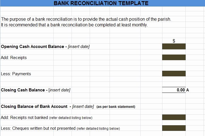 Account Reconciliation Template Excel Unique Bank Reconciliation Template