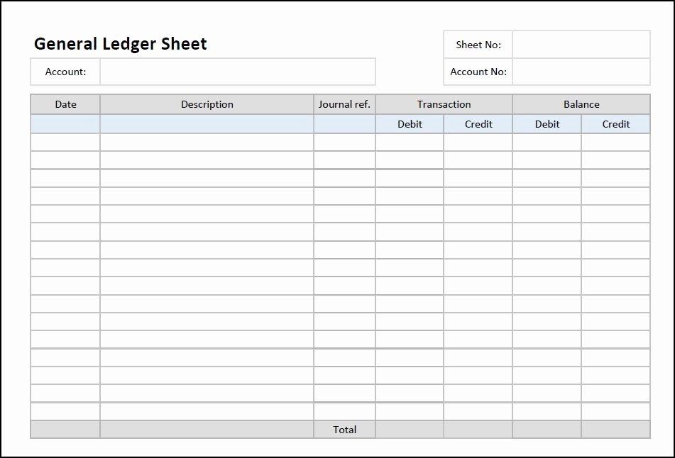 Accounting Journal Entry Template Elegant General Ledger Sheet Template
