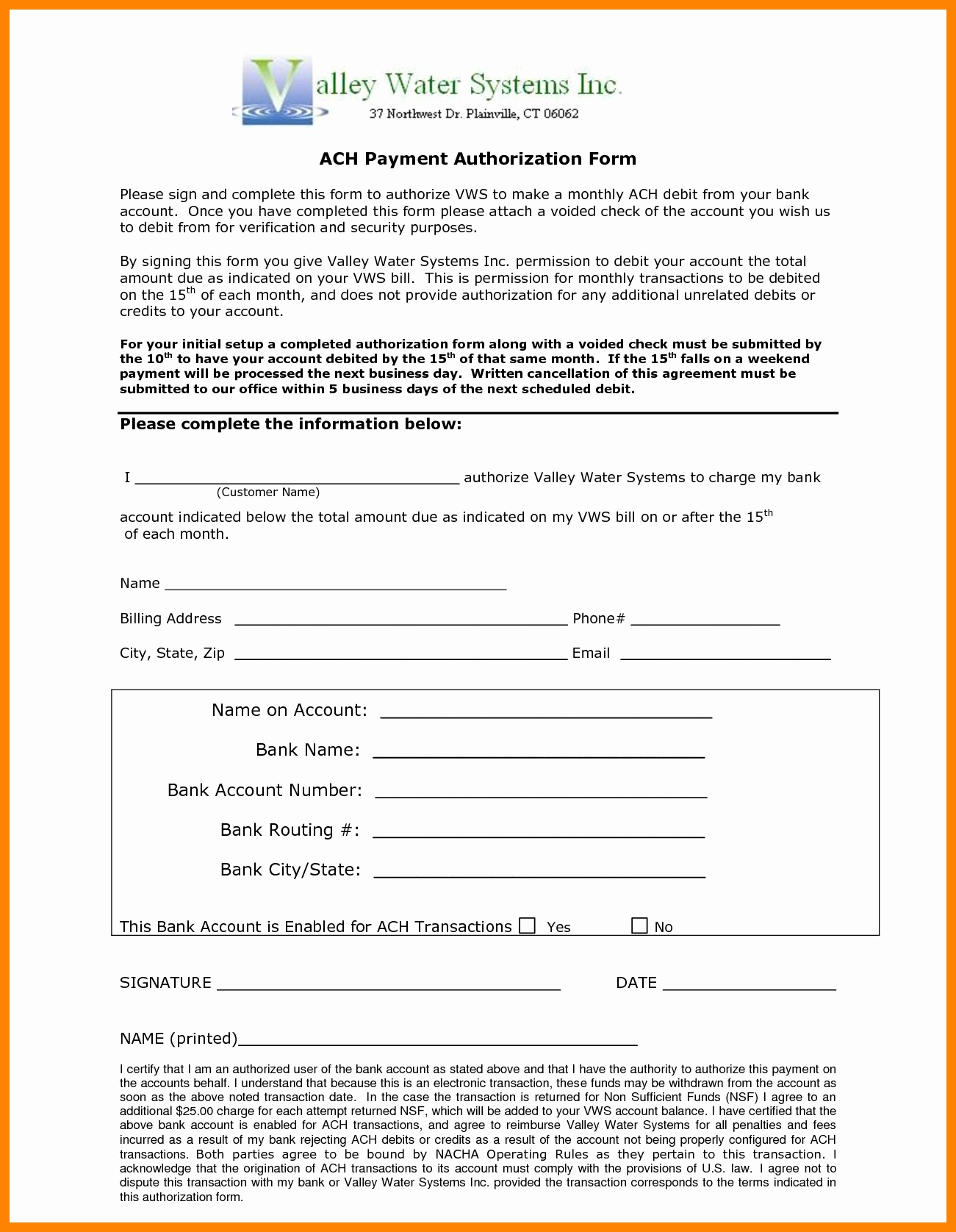 Ach Deposit Authorization form Template Awesome 10 Ach Payment form Template