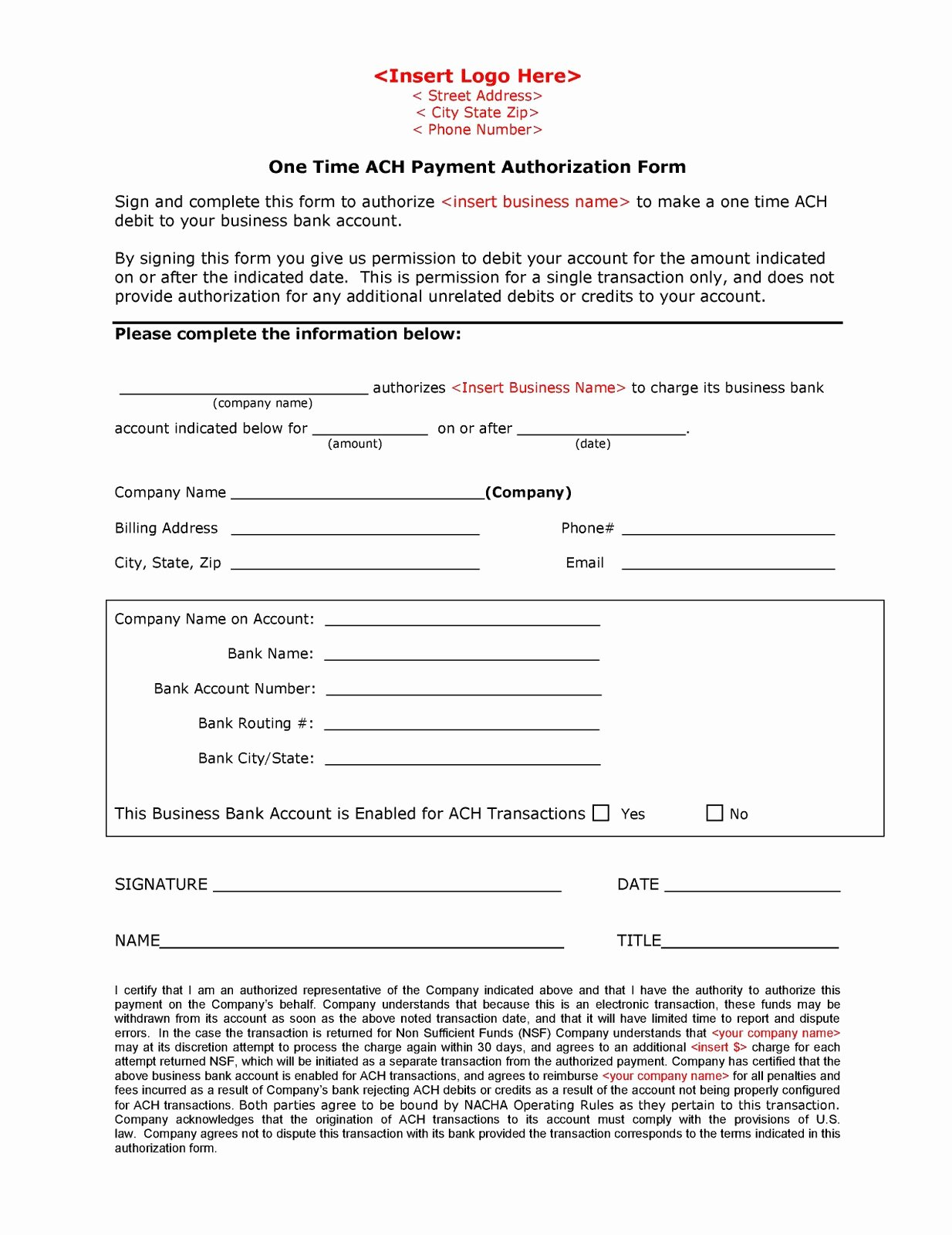 Ach Deposit Authorization form Template Awesome Automated Clearing House Ach May 2011
