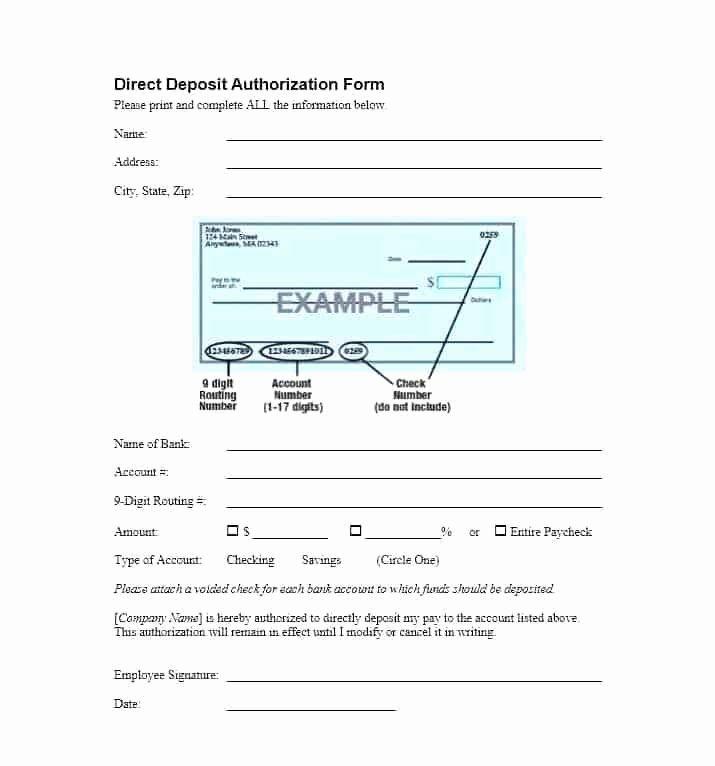 Ach Deposit Authorization form Template Awesome Direct Deposit Authorization form Templates Template