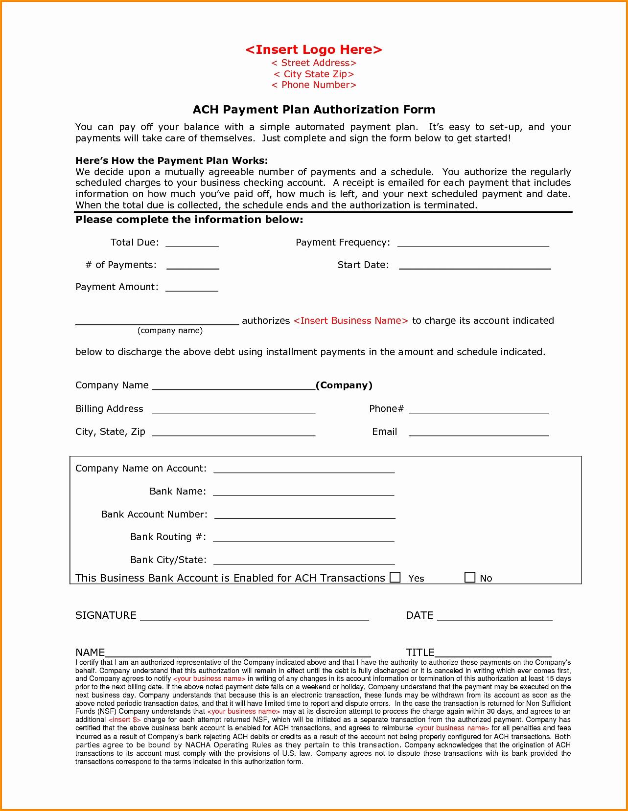 Ach Deposit Authorization form Template Fresh 26 Of Eft Authorization form Template