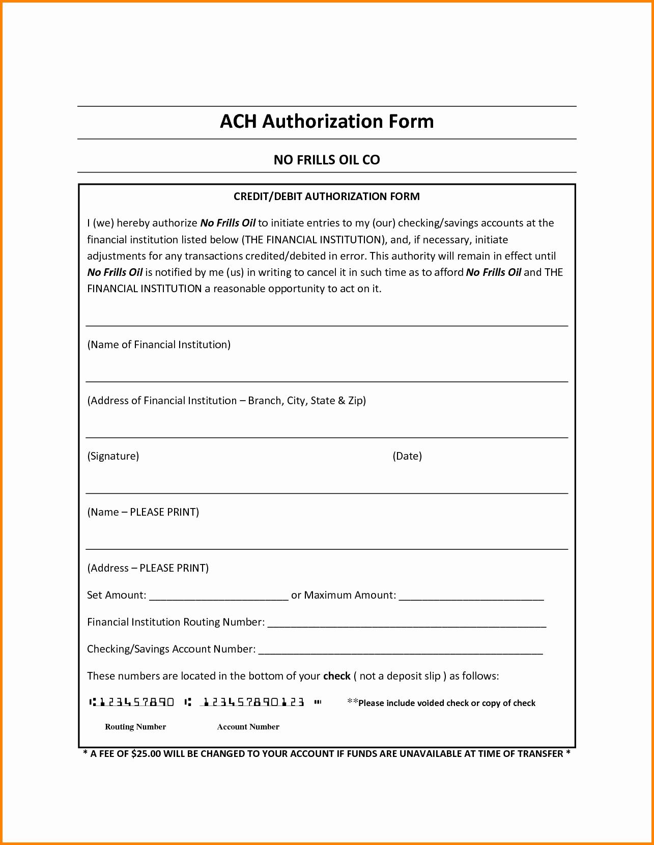 Ach Deposit Authorization form Template Fresh Ach form Template Templates Station