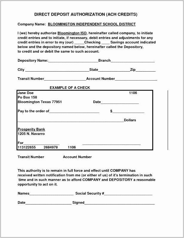 Ach Deposit Authorization form Template Fresh Direct Deposit Authorization form Examples