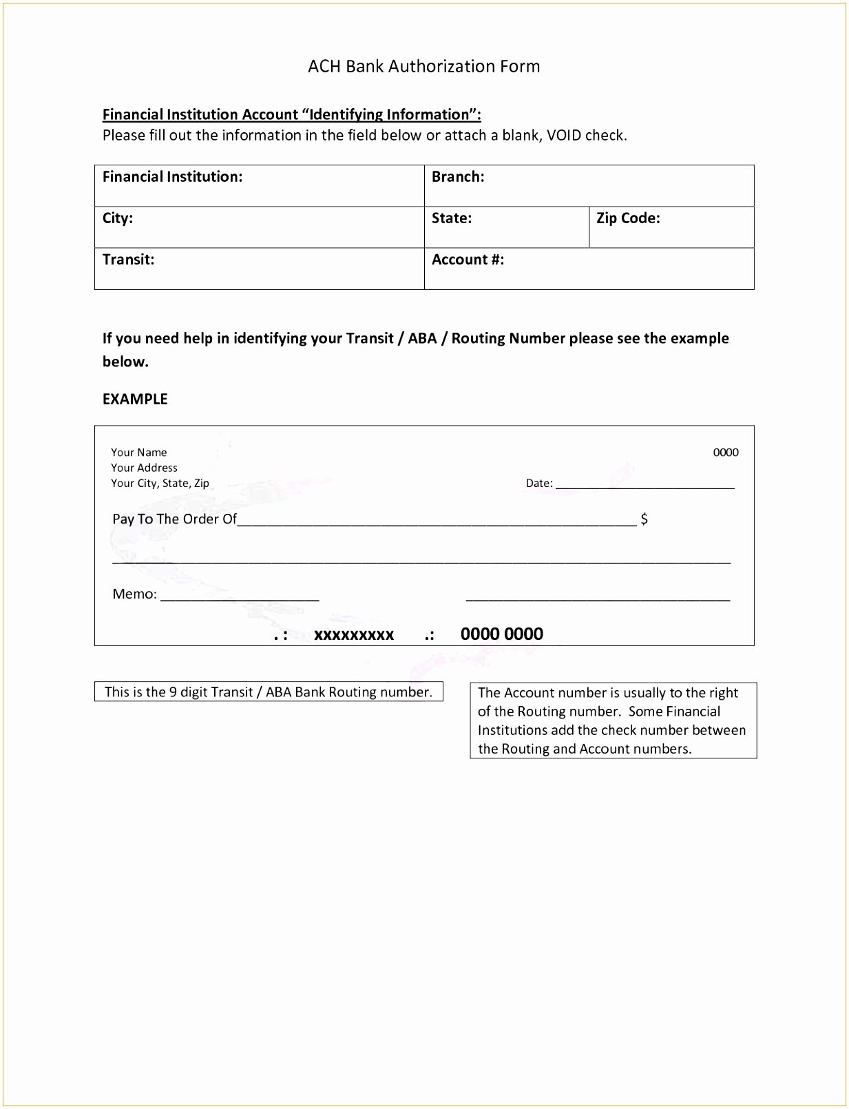 Ach Deposit Authorization form Template Lovely 12 Ach forms Templates Eaxah