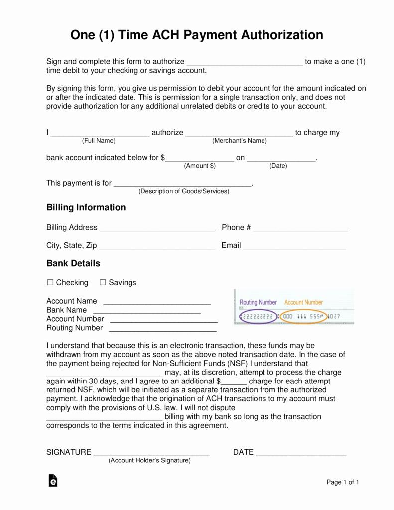 Ach Deposit Authorization form Template Luxury Free E 1 Time Ach Payment Authorization form Word