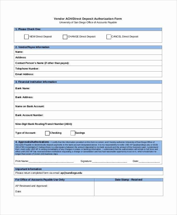 Ach Deposit Authorization form Template Unique 10 Sample Direct Deposit Authorization forms