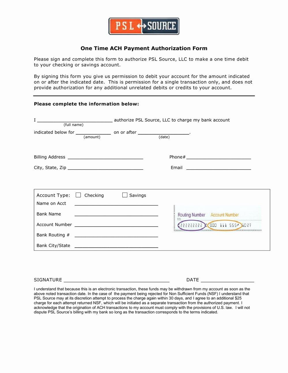 Ach Deposit Authorization form Template Unique Ach Vendor Payment Authorization Agreement Template