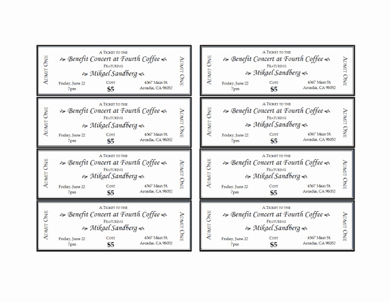 Admission Ticket Template Free Lovely event Tickets