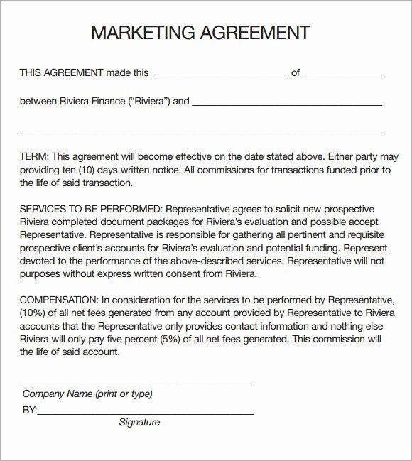 Advertising Contract Template Free Best Of 19 Sample Marketing Agreement Templates to Download