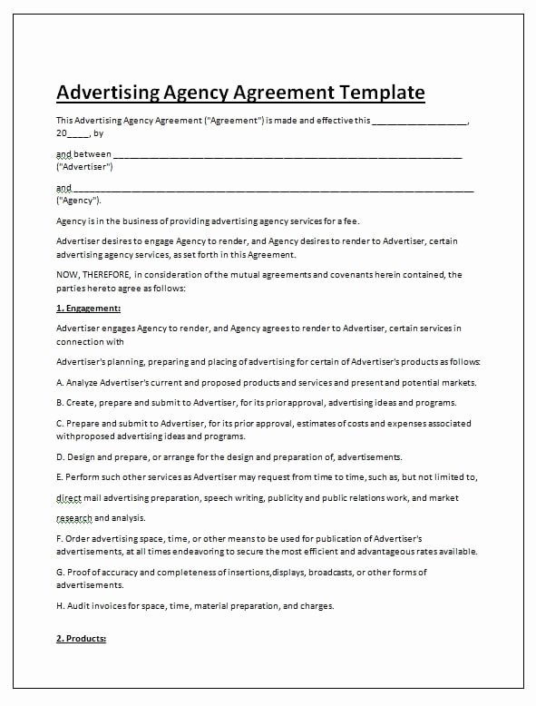 Advertising Contract Template Free Best Of Free Contract Templates Word Pdf Agreements Part 6