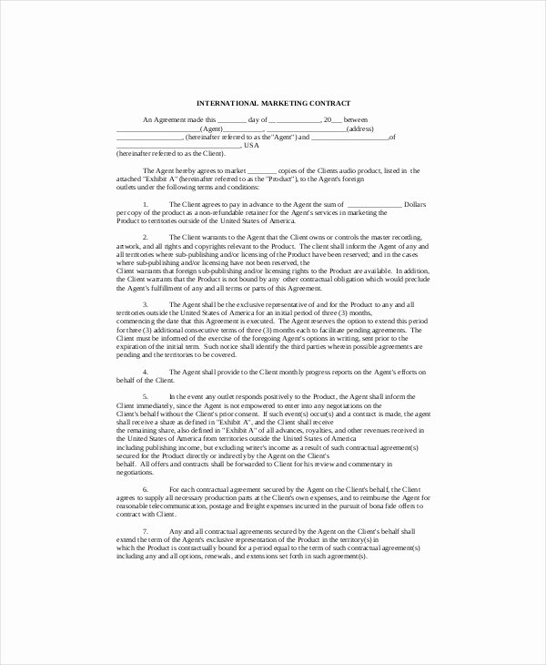 Advertising Contract Template Free Fresh Marketing Contract Template – 9 Free Word Excel Pdf