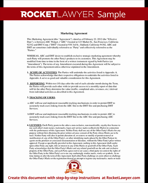 Advertising Contract Template Free Lovely Marketing Agreement Template