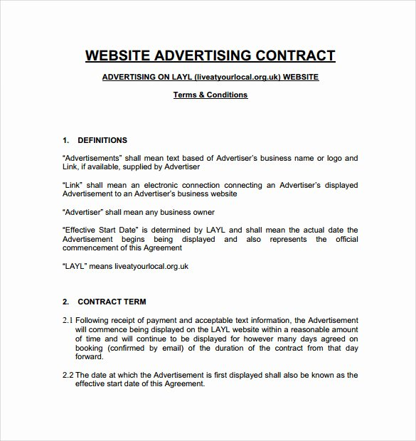 Advertising Contract Template Free New 7 Advertising Contract Templates to Download