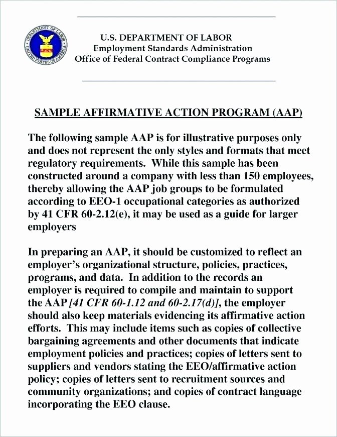 Affirmative Action Plan Template Best Of Affirmative Action Plan Template Free Templates format