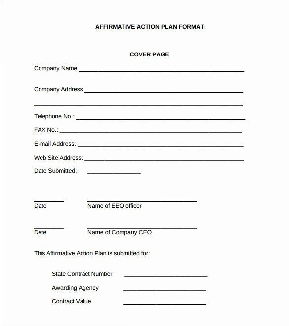 Affirmative Action Plan Template New 9 Sammple Affirmative Action Plan Templates