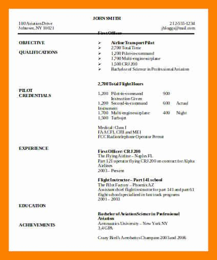 Airline Pilot Resume Template Awesome 9 Pilot Resumes Examples