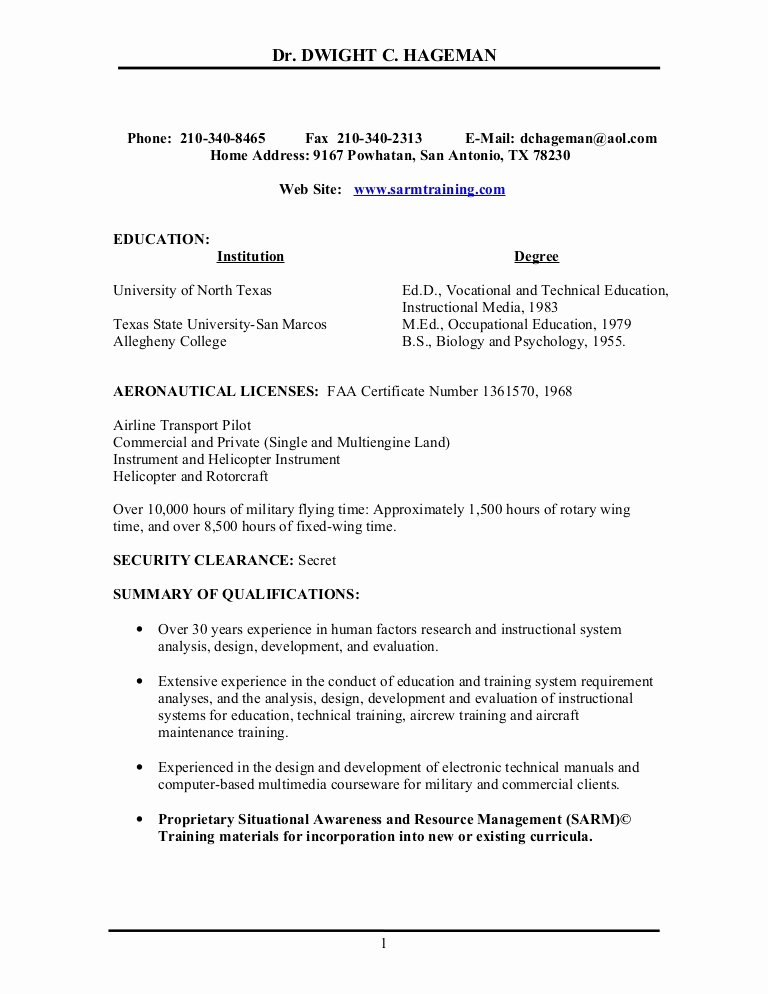 Airline Pilot Resume Template Best Of R E S U M E