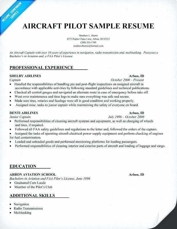 Airline Pilot Resume Template Inspirational Pilot Resume Template Custom Sample Airline Pilot Cover