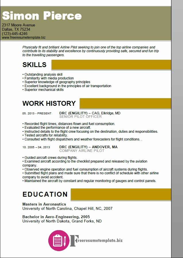 Airline Pilot Resume Template Lovely Airline Pilot Resume Template ⋆ Free Resume Templates