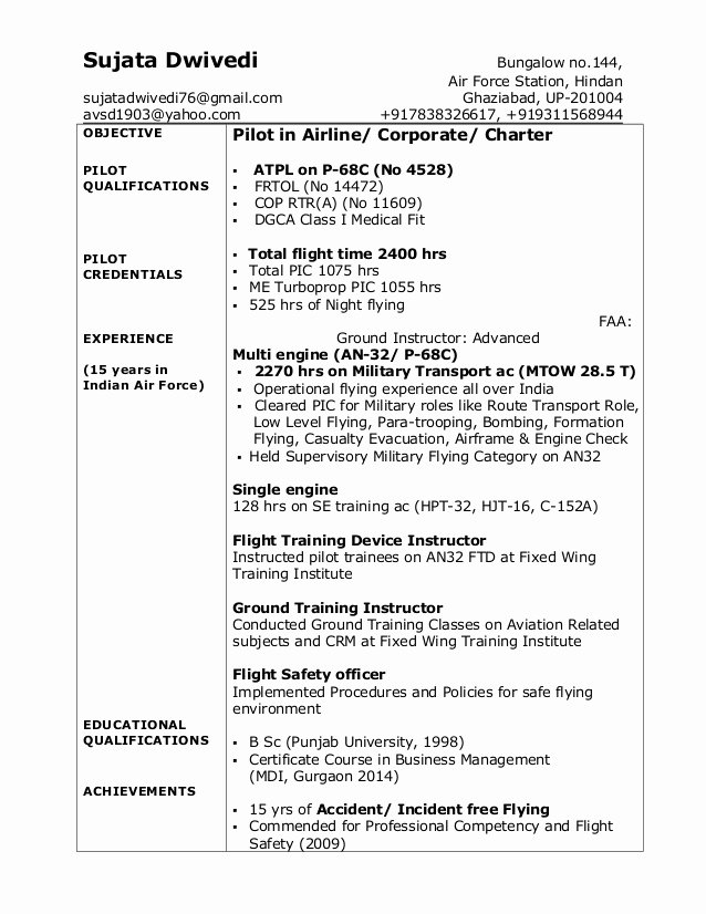 Airline Pilot Resume Template Lovely Sujata Dwivedi Pilot Resume