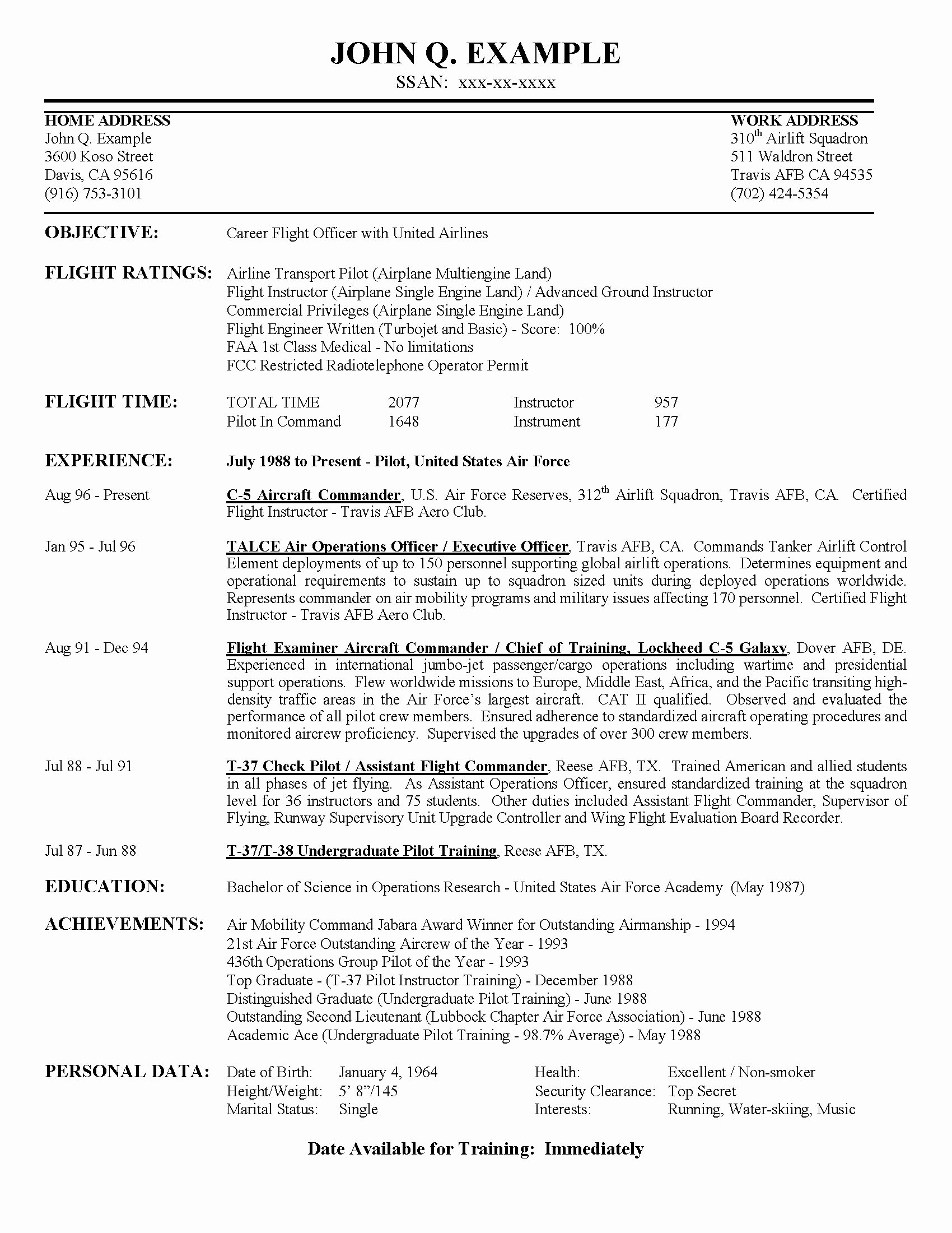 Airline Pilot Resume Template Luxury Airline Pilot Hiring Example Resume