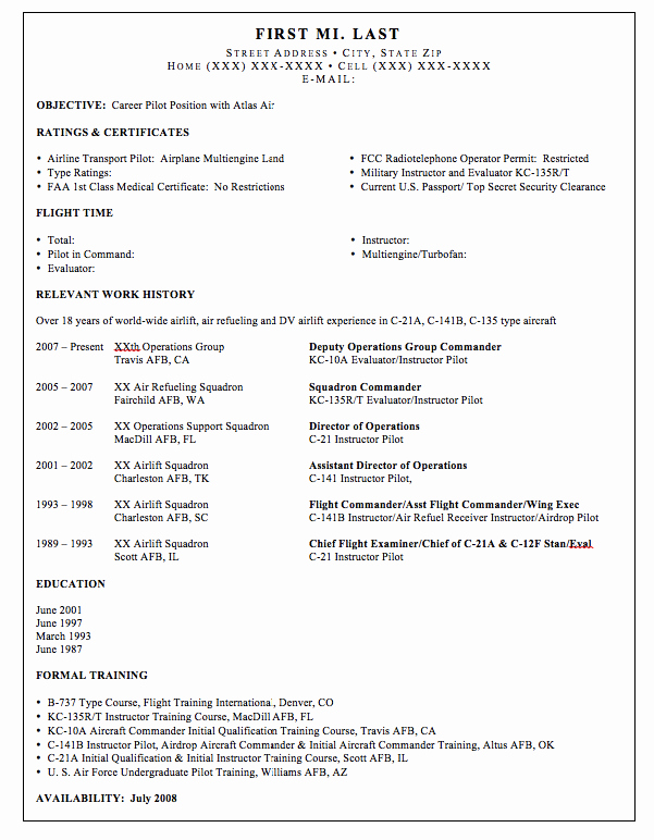 Airline Pilot Resume Template Luxury Pilot Resume Template