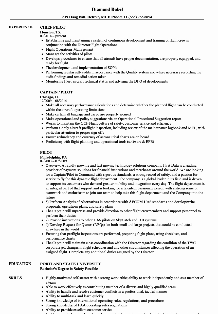 Airline Pilot Resume Template New Pilot Resume Samples