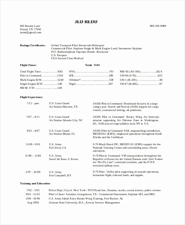 Airline Pilot Resume Template Unique Aviation Resume format Resume Sample