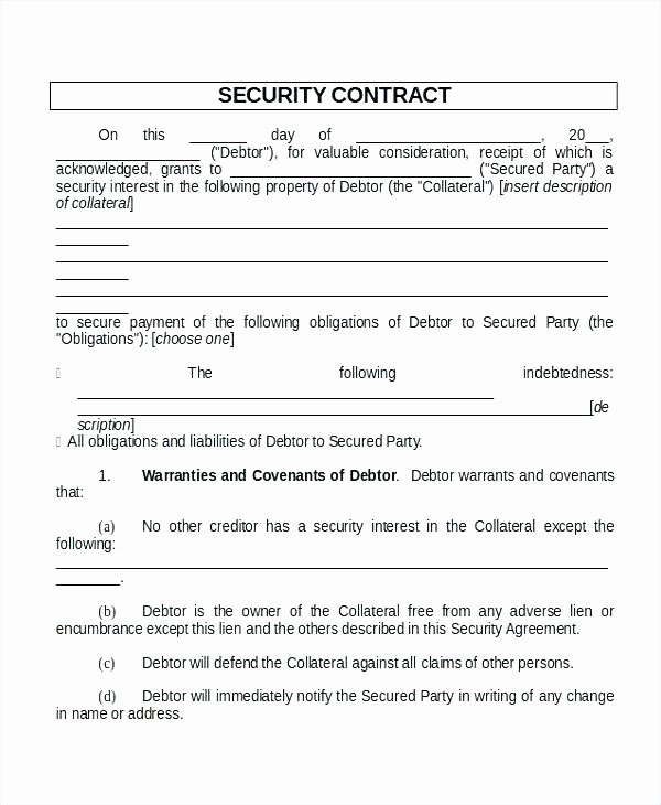Alarm Monitoring Contract Template Best Of Security Agreement Template – Tatilvillam
